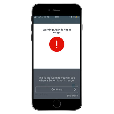 Proximity Button for Alzheimer's Wandering App for iPhone and Android Smartphones