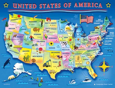 Puzzle 60 piece i puzzles for seniors i alzstore usa map what better way to learn where all of the states are than by finding them in a puzzle this interactive puzzle is great for all ages gumiabroncs Images